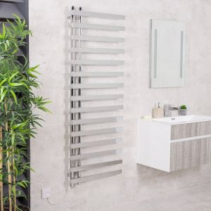 Kristiansund 1600 x 600mm Chrome Electric Designer Heated Towel Rail