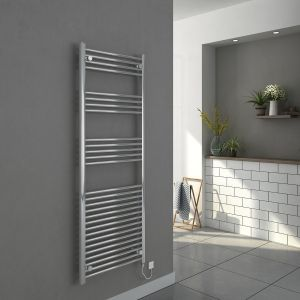 Bergen 1600 x 600mm Straight Chrome Electric Heated Towel Rail