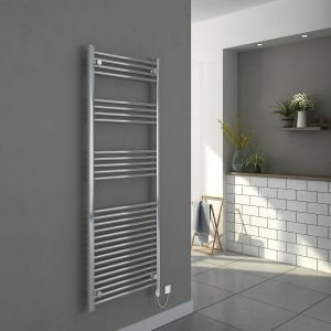 Bergen 1600 x 600mm Straight Chrome Electric Heated Thermostatic Towel Rail
