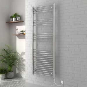 Vienna 1600 x 600mm Curved Chrome Electric Heated Towel Rail