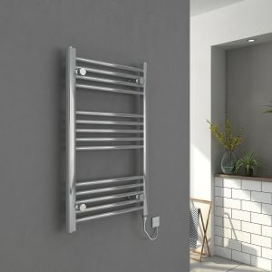 Bergen 800 x 500mm Straight Chrome Electric Heated Towel Rail