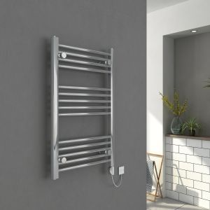 Bergen 800 x 500mm Straight Chrome Electric Heated Thermostatic Towel Rail