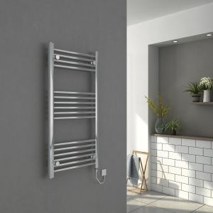 Bergen 1000 x 500mm Straight Chrome Electric Heated Towel Rail