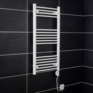 Bergen 1000 x 500mm Straight White Electric Heated Thermostatic Towel Rail