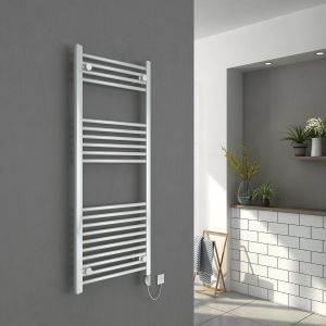 Bergen 1200 x 500mm Straight White Electric Heated Thermostatic Towel Rail