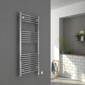 Bergen 1200 x 500mm Straight Chrome Electric Heated Thermostatic Towel Rail