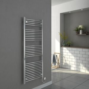 Bergen 1500 x 600mm Straight Chrome Electric Heated Towel Rail