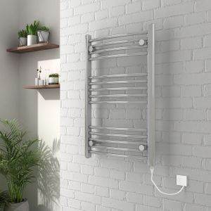 Vienna 800 x 500mm Curved Chrome Electric Heated Towel Rail