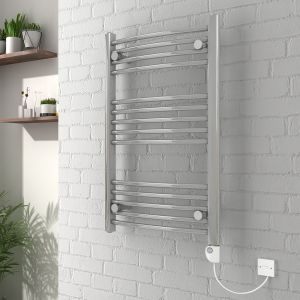 Vienna 800 x 500mm Curved Chrome Electric Heated Thermostatic Towel Rail
