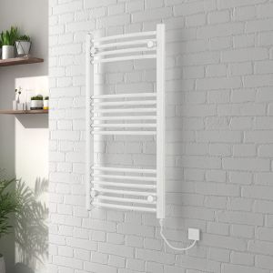Vienna 1000 x 500mm Curved White Electric Heated Towel Rail