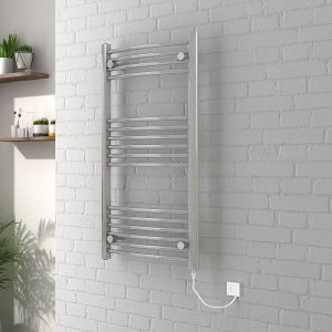 Vienna 1000 x 500mm Curved Chrome Electric Heated Towel Rail