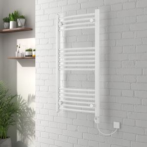 Curved White Electric Heated Thermostatic Towel Rail