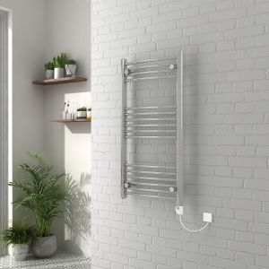 Vienna 1000 x 500mm Curved Chrome Electric Heated Thermostatic Towel Rail
