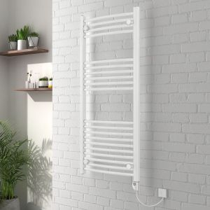 Vienna 1200 x 500mm Curved White Electric Heated Thermostatic Towel Rail
