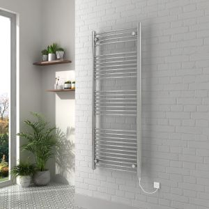 Vienna 1500 x 600mm Curved Chrome Electric Heated Towel Rail