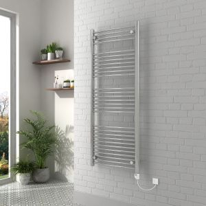 Vienna 1500 x 600mm Curved Chrome Electric Heated Thermostatic Towel Rail