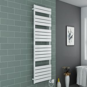 Juva Towel Radiator 1800 x 600 - White & 500W Thermostatic White Electric Heating Element with Cable and LED Display & T-Piece & Blanking Plug