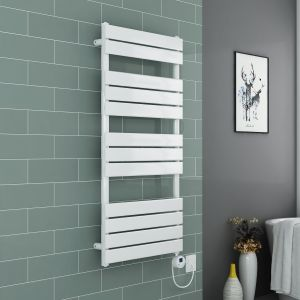 Juva Towel Radiator 1200 x 600 - White & 500W Thermostatic White Electric Heating Element with Cable and LED Display & T-Piece & Blanking Plug