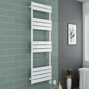 Juva Towel Radiator 1600 x 600 - White & 500W Thermostatic White Electric Heating Element with Cable and LED Display & T-Piece & Blanking Plug