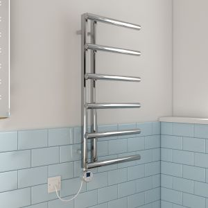 Kristiansund Towel Radiator 988 x 500 - Chrome & 300W Thermostatic Chrome Electric Heating Element with Cable and LED Display & T-Piece & Blanking Plug