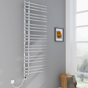 Kristiansund Towel Radiator 1250 x 500 - Chrome & 300W Thermostatic Chrome Electric Heating Element with Cable and LED Display & T-Piece & Blanking Plug