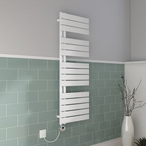 Kristiansund Towel Raidator 1380 x 500 - White & 500W Thermostatic LCD White Electric Element