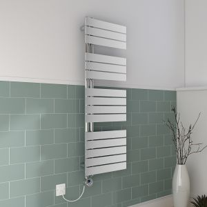Kristiansund Towel Radiator 1380 x 500 - Chrome Plated & 500W Thermostatic Chrome Electric Heating Element with Cable and LED Display & T-Piece & Blanking Plug