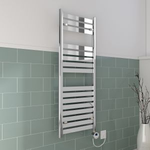Boden Towel Radiator 1200 x 500 - Chrome & 300W Thermostatic Chrome Electric Heating Element with Cable and LED Display & T-Piece & Blanking Plug