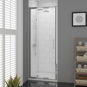 Aquariss Pivot Door Enclosure 760X1900mm 6mm 3M Glass Silver Frame