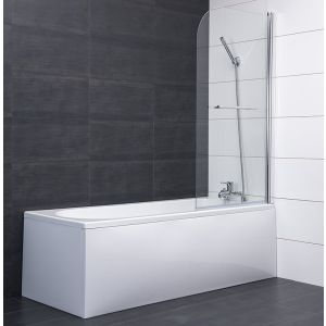 Aquariss® 1400mm Bath Screen & Towel Rail with Easy Clean Glass