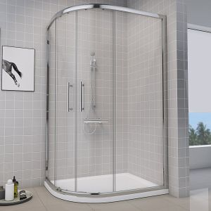 Aquariss 1000 x 800mm Offset Left Hand Quadrant Shower Enclosure with Easy Clean Glass - FREE Shower Tray & Waste