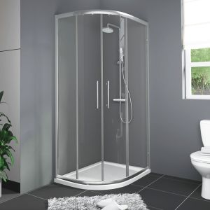 1200X900mm Offset Quadrant Shower Enclosure 6mm Glass Silver Frame LH - Shower Tray & Waste
