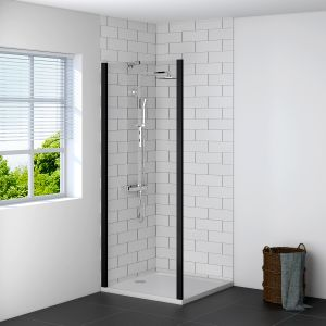 Aquariss BLACK 800mm Shower Enclosure Side Panel with Easy Clean Glass