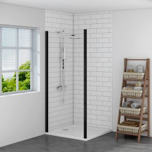 Aquariss BLACK 900mm Shower Enclosure Side Panel with Easy Clean Glass