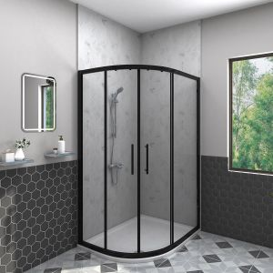 Aquariss BLACK 1000x800mm Offset Left Hand Quadrant Shower Enclosure with Easy Clean Glass- FREE Shower Tray & Waste