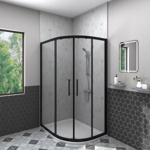 Aquariss BLACK 1000x800mm Offset Right Hand Quadrant Shower Enclosure with Easy Clean Glass- FREE Shower Tray & Waste