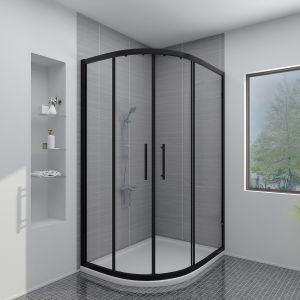 Aquariss BLACK 1200x900mm Offset Left Hand Quadrant Shower Enclosure with Easy Clean Glass- FREE Shower Tray & Waste