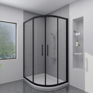 Aquariss BLACK 1200x900mm Offset Right Hand Quadrant Shower Enclosure with Easy Clean Glass- FREE Shower Tray & Waste