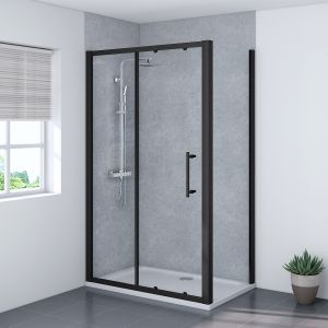 Aquariss BLACK 1200 x 760mm Sliding Door Shower Enclosure with Easy Clean Glass - With Shower Tray & Waste