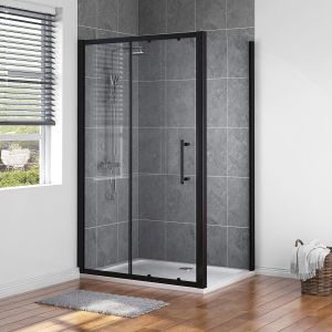 Aquariss BLACK 1200 x 900mm Sliding Door Shower Enclosure with Easy Clean Glass - With Shower Tray & Waste