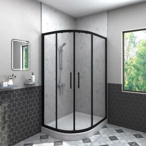 Aquariss BLACK Easy-Plumb 1000x800mm Offset Left Hand Quadrant Shower Enclosure with Easy Clean Glass- FREE Shower Tray & Waste