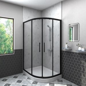 Aquariss BLACK Easy-Plumb 1000x800mm Offset Right Hand Quadrant Shower Enclosure with Easy Clean Glass- FREE Shower Tray & Waste
