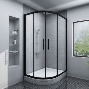 Aquariss BLACK Easy-Plumb 1200x900mm Offset Left Hand Quadrant Shower Enclosure with Easy Clean Glass- FREE Shower Tray & Waste