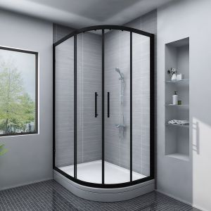Aquariss BLACK Easy-Plumb 1200x900mm Offset Right Hand Quadrant Shower Enclosure with Easy Clean Glass- FREE Shower Tray & Waste