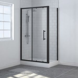 Aquariss BLACK Easy-Plumb 1200 x 760mm Sliding Door Shower Enclosure with Easy Clean Glass - With Shower Tray & Waste