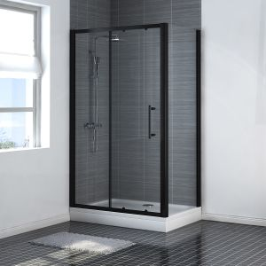 Aquariss BLACK Easy-Plumb 1200 x 800mm Sliding Door Shower Enclosure with Easy Clean Glass - With Shower Tray & Waste
