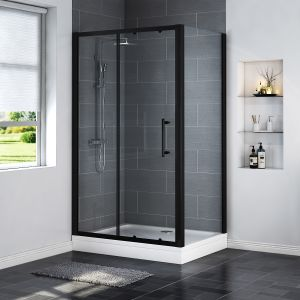 Aquariss BLACK Easy-Plumb 1200 x 900mm Sliding Door Shower Enclosure with Easy Clean Glass - With Shower Tray & Waste