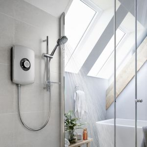 Triton Amore Electric Shower 9.5kW - Brushed Steel