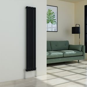 Karlstad 1600 x 274mm Black Single Flat Panel Vertical Radiator