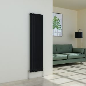 Karlstad 1600 x 410mm Black Single Flat Panel Vertical Radiator